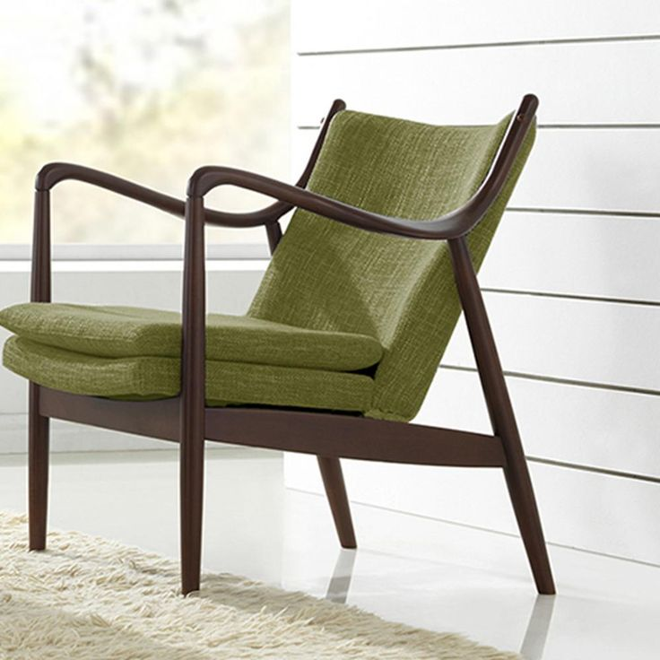 shakespeare midcentury green fabric upholstered accent chair