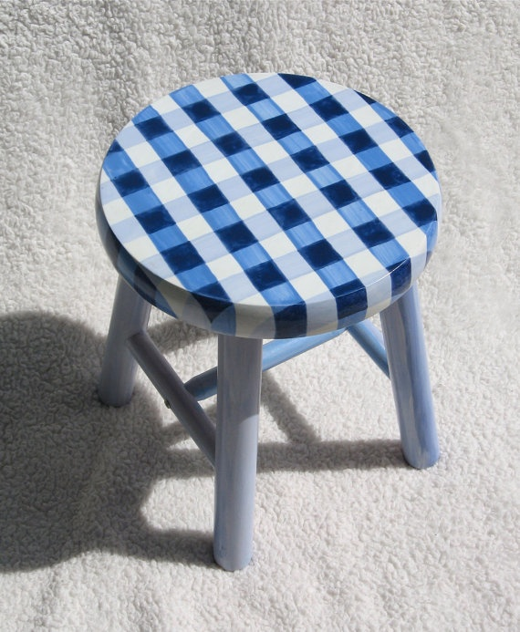 BLUE GINGHAM STOOL childrens hand painted small by SugarAndPaint