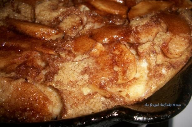 """Baked Apple Pancake from Food.com: Sunday at Bickford's in the Boston area was a regular to enjoy their Baked Apple Pancake. Now a resident of Miami Beach, I couldn't find anything like it, therefore, I created this one. For success you must use a 7""""-10"""" cast iron skillet.."""
