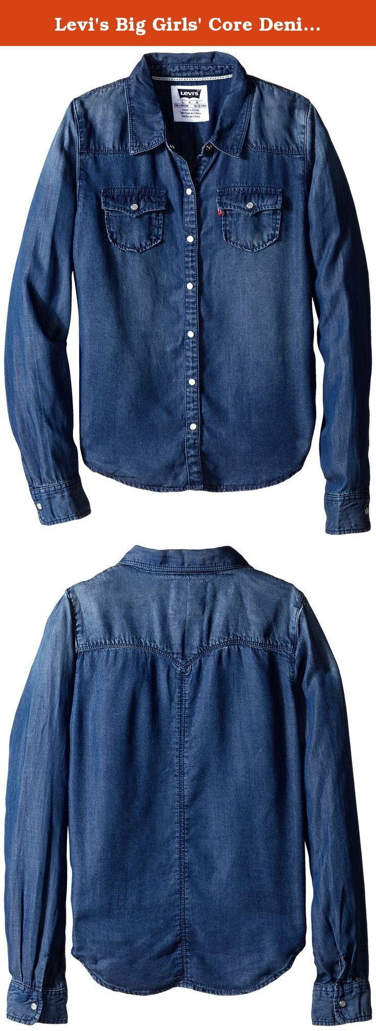 Levi's Big Girls' Core Denim Shirt, Rebel Blue, X-Large. The classic button-up has never looked so good. Levi's core denim shirt for girls is available in your choice of color and wash ranging from classic and authentic styles to bold and unique looks.