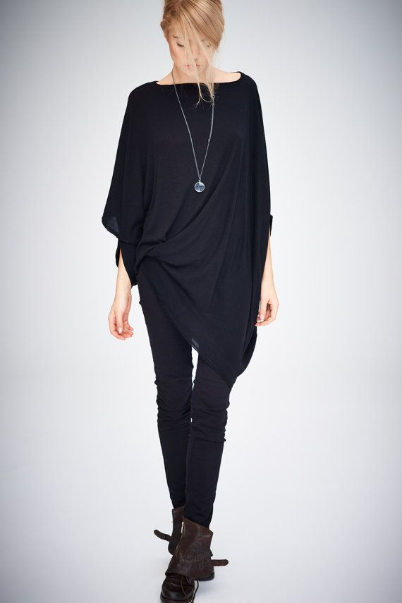 Twisted Black Top/ Oversized Asymmetrical Top/ Loose Black Top/ Casual Cotton Blouse by Arya Sense/ TEDJ14BL