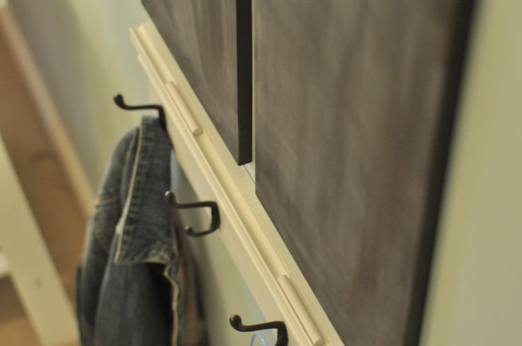 Wall hooks with chalkboard from @homeworksetc = perfect for the mudroom!