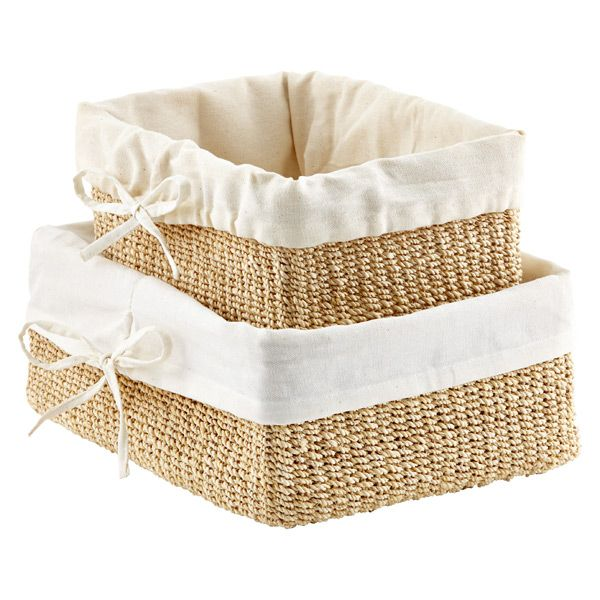 Natural Lined Makati Storage Baskets | The Container Store