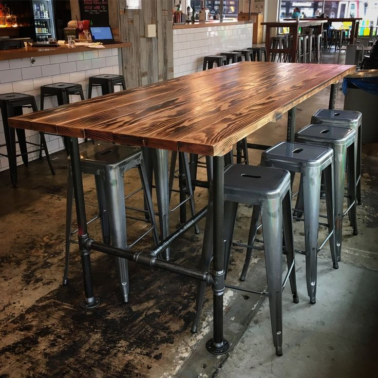 High Gas Pipe Breakfast Bar Kitchen Table Reclaimed: Custom Steele Pipe Tables (Shown With Shou Sugi Ban Top