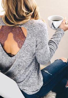 triangle bralette + open back sweater