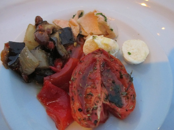 Cabana Las Lilas in Buenos Aires-Appetizer platter: roasted peppers, mozzarella, eggplant, and roasted tomatoes