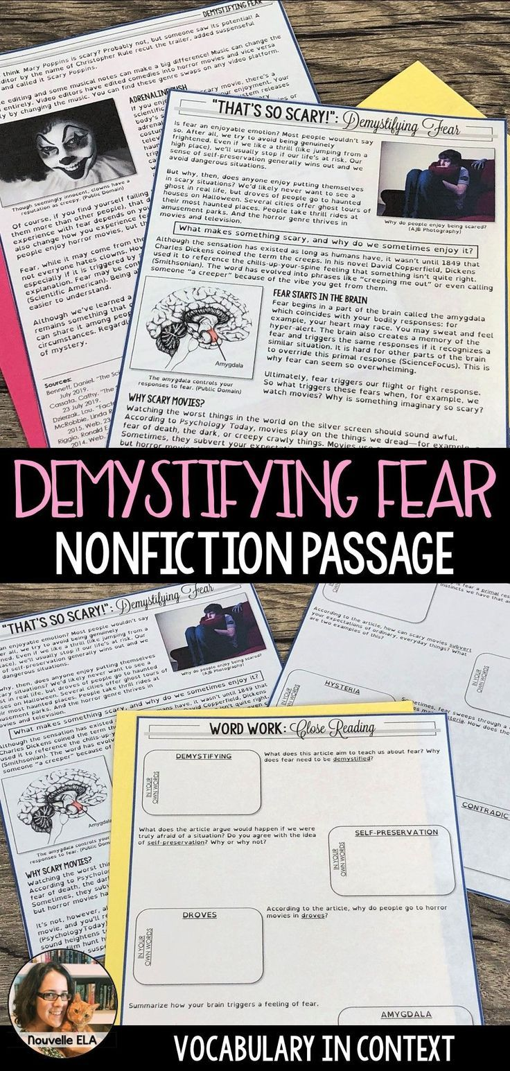 Nonfiction Passage Demystifying Fear Informational Text Nonfiction Reading Passages Vocabulary In Context Nonfiction Passages [ 1545 x 736 Pixel ]