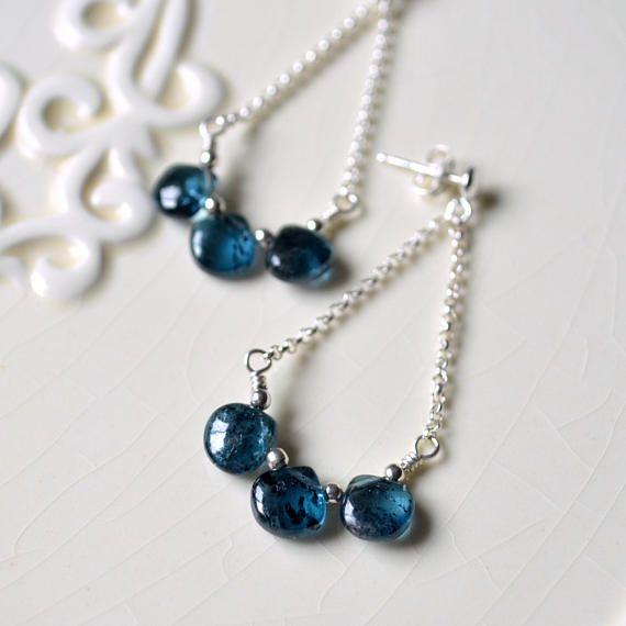 Moss Kyanite Earrings Sterling Silver Teal Blue Gem Stones