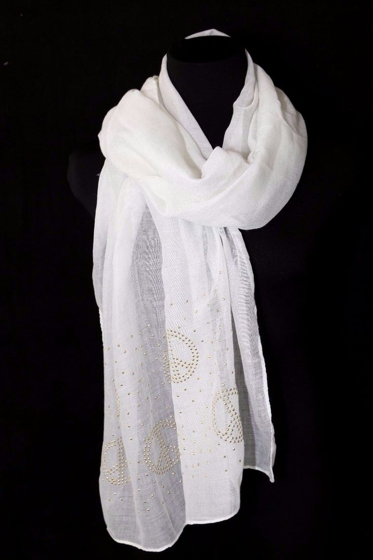 B124 Small Peace Sign Symbol Gold Ivory Metal Studded Shawl Scarf Boutique
