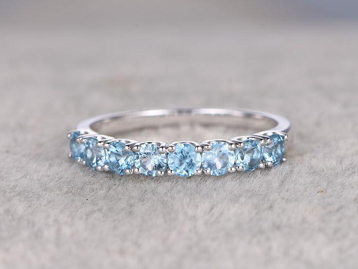 Blue Topaz Rings Solid 14K White gold Wedding Ring Half Eternity Swiss Blue Topaz StackingRing - BBBGEM
