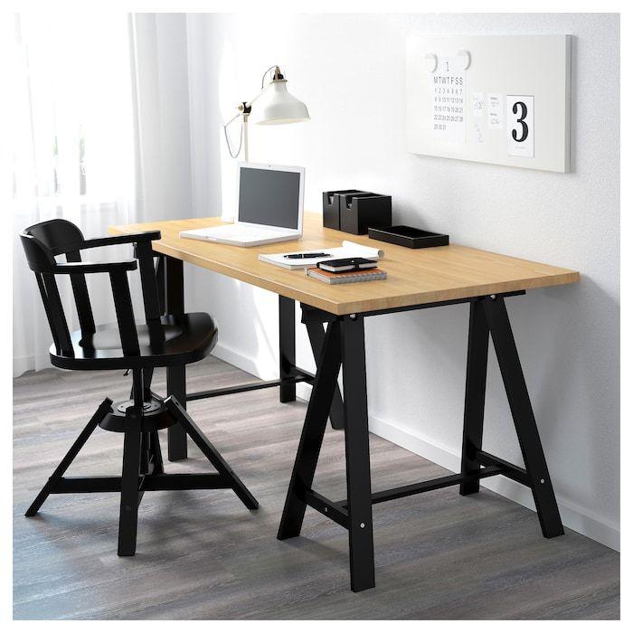 Gerton Oddvald Table Hetre Noir 155x75 Cm Ikea Bureau Bois Ikea Meuble Metal
