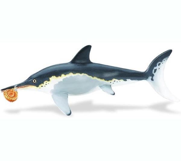 """Ichthyosaurus - El Ichthyosaurus era un pez marino carnívoro, que comía peces pequeños y calamares. Su mayor depredador fue el tiburón. No tenía branquias, por lo que tenía que subir a la superficie para respirar. Vivió en los mares de lo que hoy se conoce como Europa. Su nombre significa """"reptil pez"""".Alto: 5 cm Largo: 20 cm Edad: a partir de 3 años Marca: Safari Ref. 30053 Precio: 12.00 € IVA incluido"""