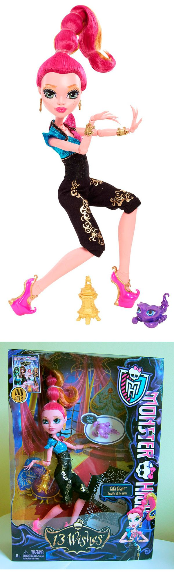 Monster High 13 Wishes Gigi Grant Doll, Daughter of the Genie.
