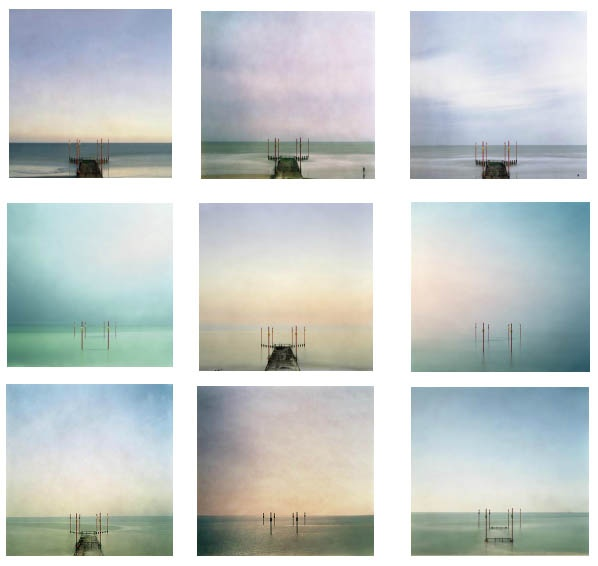London-based photographer Tony Ellwood has a project called In No Time that deals with our perception and awareness of our passage of time. All the photographs are of the same pier on a beach that Ellwood visited over a period of six months.