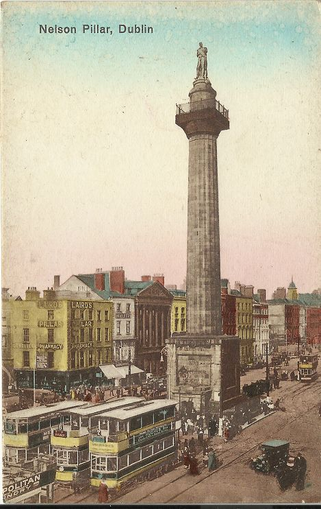 A postcard image of the Nelson Pillar (Fallon collection)