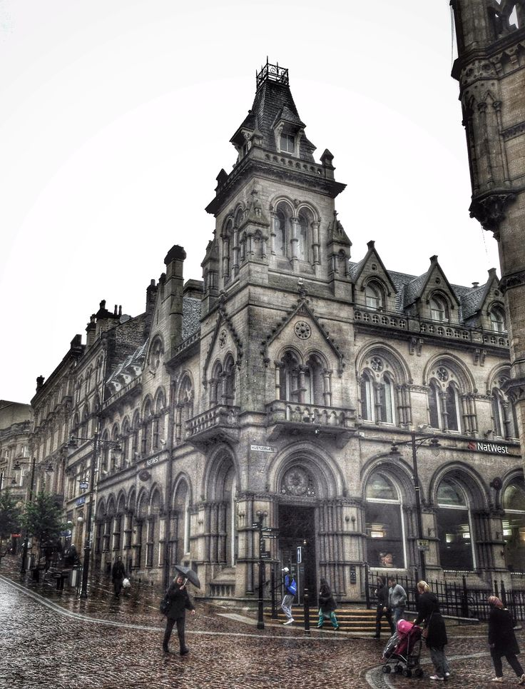 Designed by Andrews and Pepper for the Bradford Commercial Bank in 1886 this French Gothic building is now home to the Natwest Bank