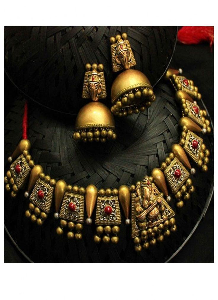 Shop Online Gold Black #TerracottaJewellery @Chennaistore.com