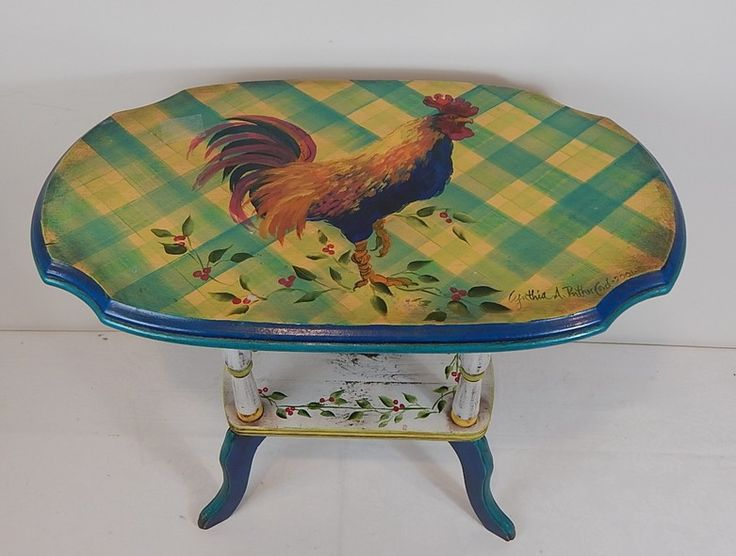 Superb Small Cynthia Rutherford Signed Rooster Accent Table