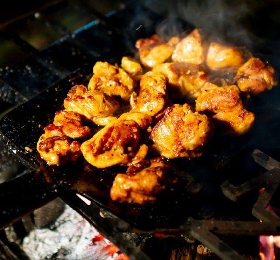 鶏肉のスパイス焼きを焚き火で Yoka Griddleが得意なのは間違いなく