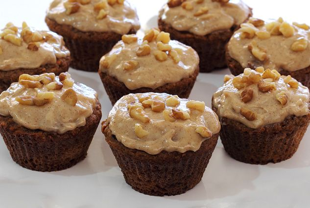 Gluten-free and paleo-friendly Carrot Cake Cupcakes w/Cinnamon-Vanilla Frosting Recipe. Simple and simply delicious with no refined sugars in cake or frosting!