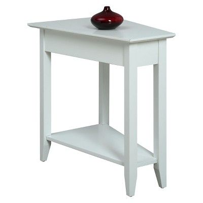 American Heritage Wedge End Table White - Convenience Concepts