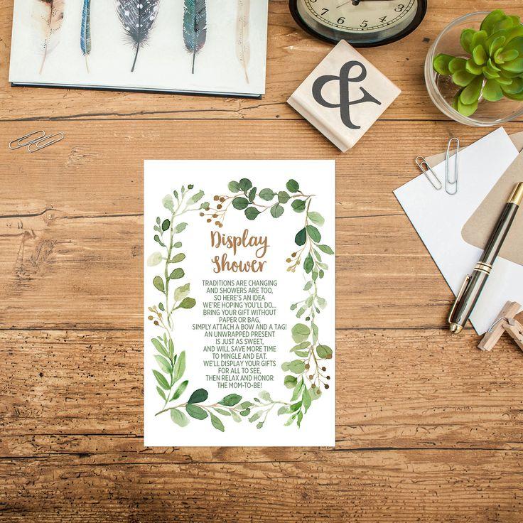 Display Baby Shower: Greenery Baby Shower Display Card Printable Green Foliage