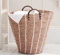 Wicker basket laundry hamper