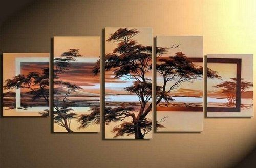 Five Piece Canvas Wall Art 100% hand painted artwork tree of life 5 piece wall art oil