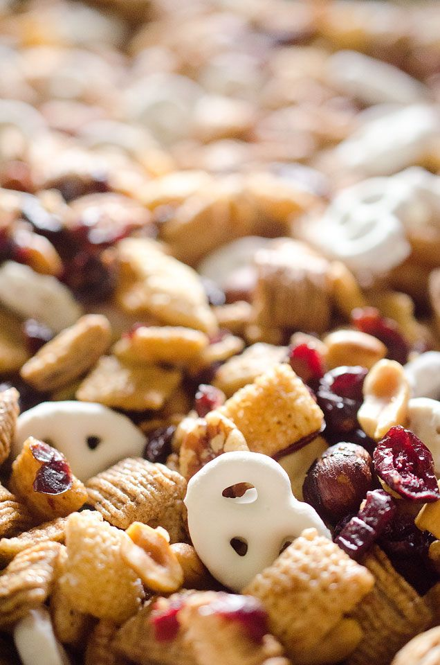 Sweet & Salty Cranberry Snack Mix is a party favorite filled with buttery cinnamon Chex Mix, yogurt covered pretzels, dried cranberries and mixed nuts.