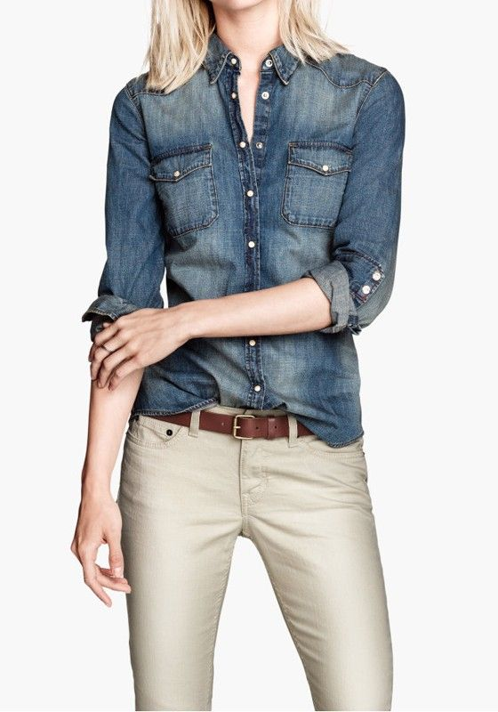 Blue Pockets Buttons Turndown Collar Wrap Denim Blouse