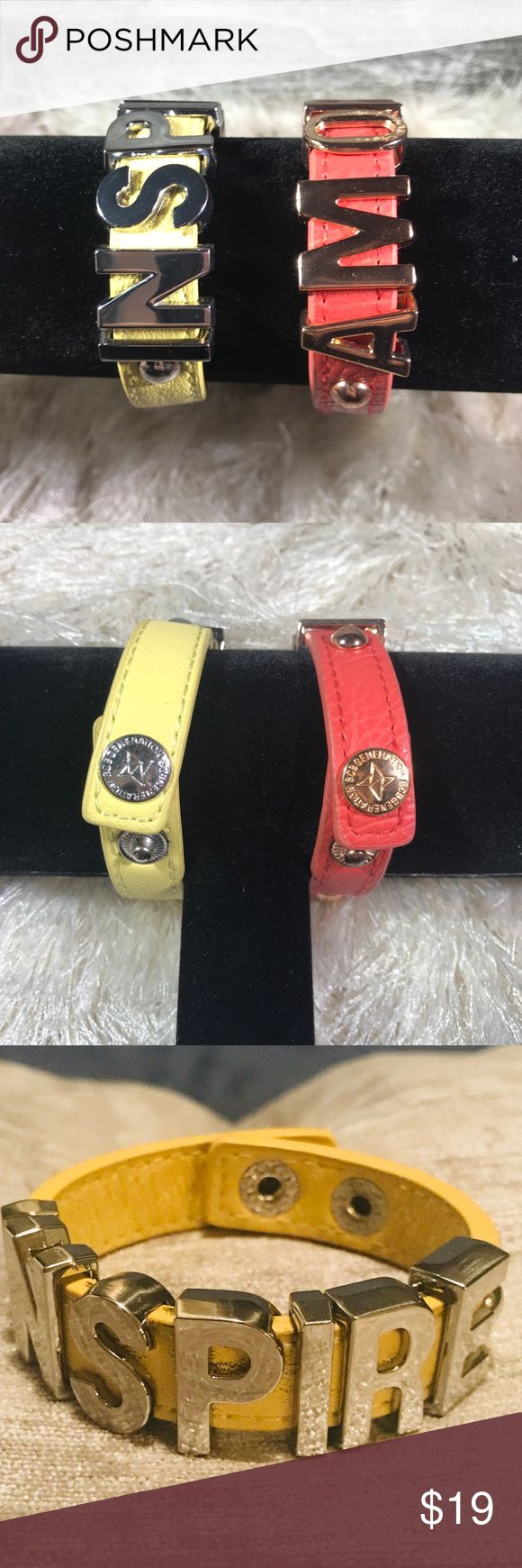 2 new inspirational BCBG hardware bracelets 🌈 Fun & inspirational bundle of BCBGenration adjustable snap bracelets. Vinyl with gold toned hardware. Out of stock from major retailers. Positive and fun! Pair with the FEARLESS necklace and save! BCBGeneration Jewelry Bracelets