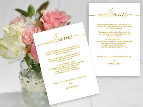 Gold Printable Wedding Welcome Template Edit Print A Message With Guest Itineraries