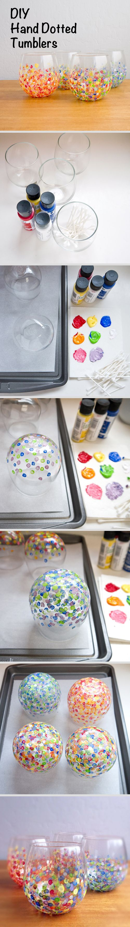 Hand dotted tumblers: Dot base of glasses with Q-Tip in paint. Flip to dry. Bake in 350 degree oven for 30 min.