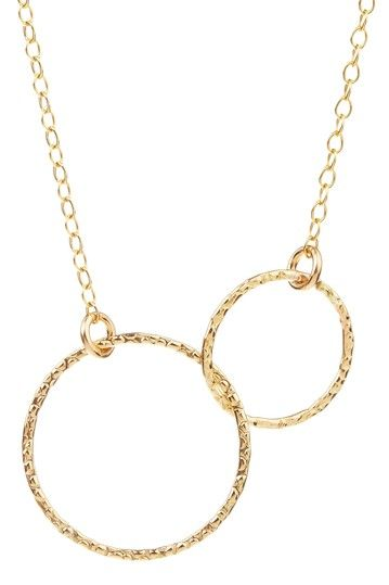Gold Double Circle Pendant Necklace