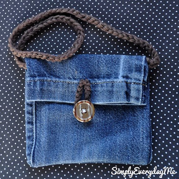 Items similar to Up-cycle Blue Jean Mini Purse With Crochet Strap & Vintage Button Accent - Blue Jean/Vintage Button on Etsy