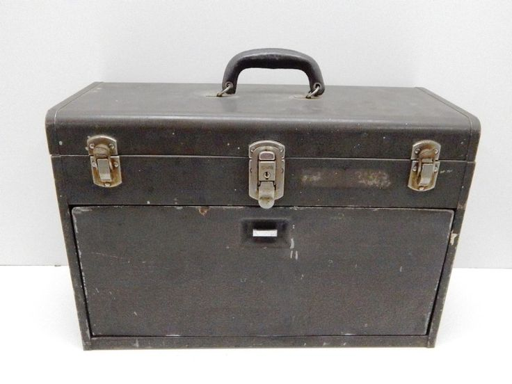 VINTAGE Metallic Large Tool Box & Tools KENNEDY - shopgoodwill.com