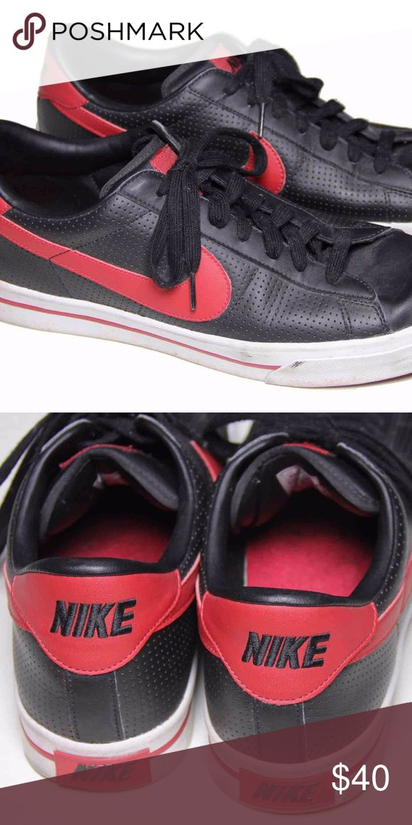 Mens Nike BRS Leather Sneakers Shoes Size 11 Men's pre-owned Nike BRS leather sneakers Size USA 11 Black with red Red Nike Swoosh emblem 2009 318333-0008 Leather uppers, rubber soles Some stains on the rubber that come with normal wear Nike Shoes Sneakers