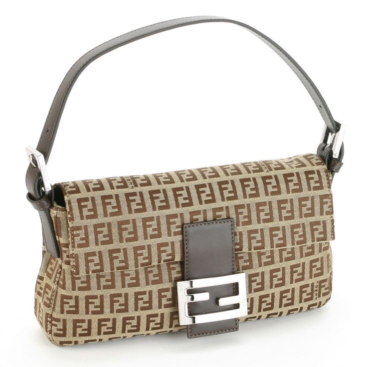 The Fendi 8BR000 Baguette Zucchino Bag with Leather Trim is ...