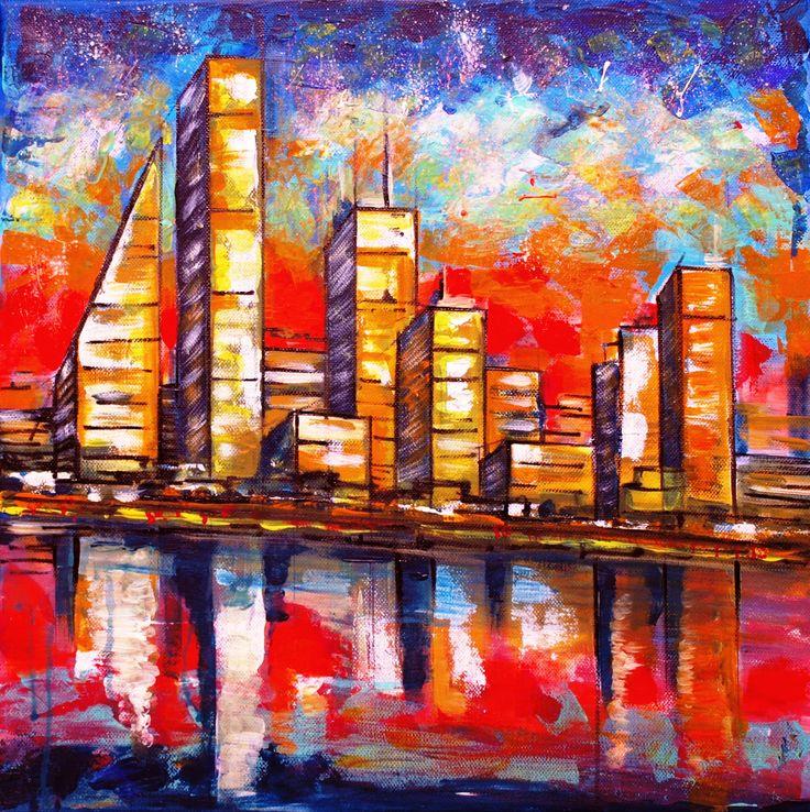 Imaginary city (50 cm x 50 cm)