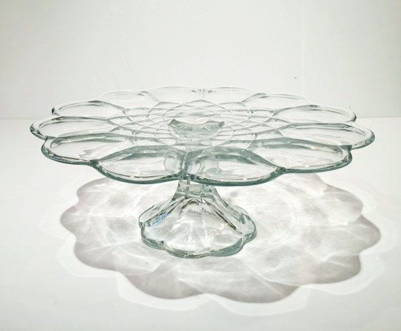 """Vintage Clear Glass Cake Stand, Round Pedestal Cake Stand, 11"""" Scalloped Cake Stand by MotownLostandFound on Etsy"""