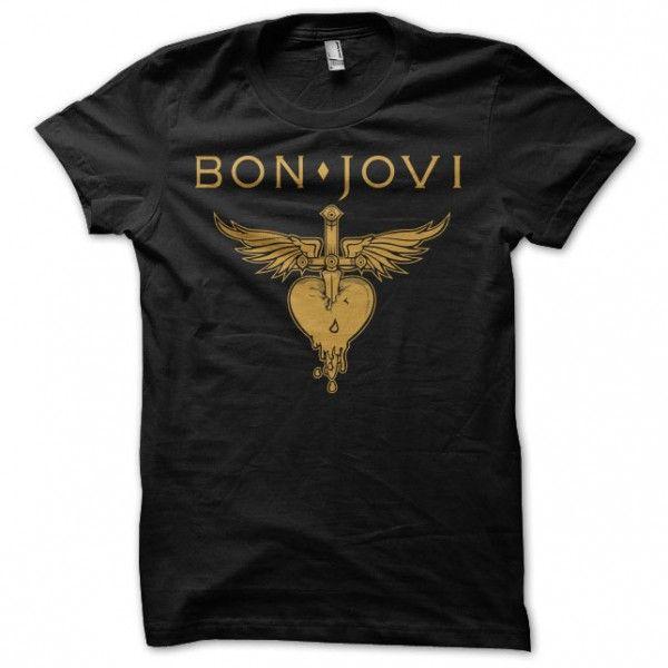 Bon Jovi T Shirts | shirt black with logo Bon Jovi golden.