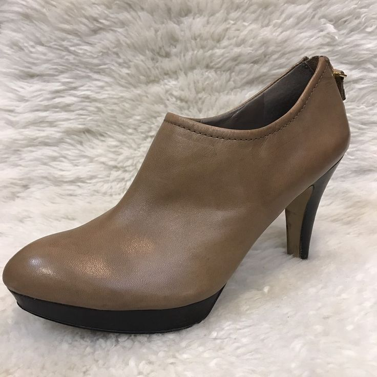 FRANCO SARTO Womens 8 Orchid Ankle Boots Stacked Heel Tan Leather Back Zip  | eBay