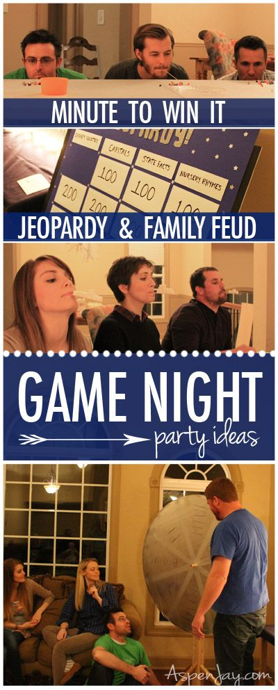 Really fun and easy game night party ideas for adults and the entire family. Mixture of Jeopardy, Minute to Win It, and Jeopardy. Check out the pics
