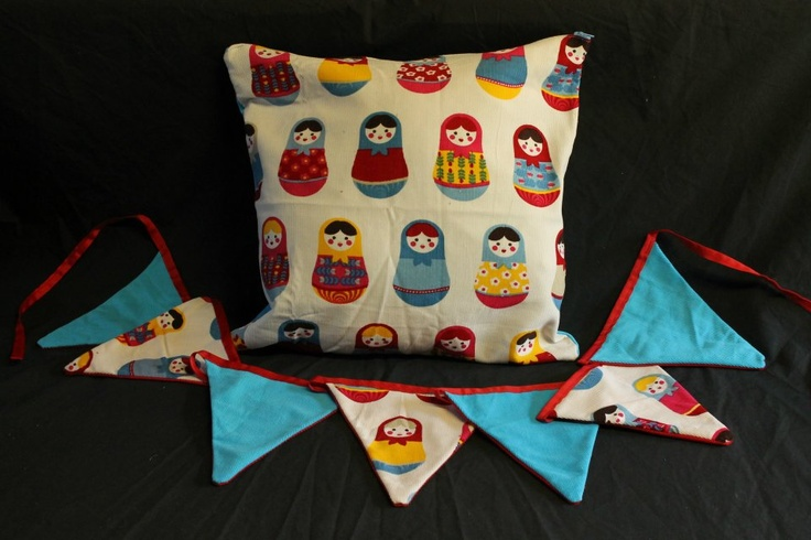 Babushka Doll Cushion Cover & Bunting  http://www.facebook.com/MadeBySarah