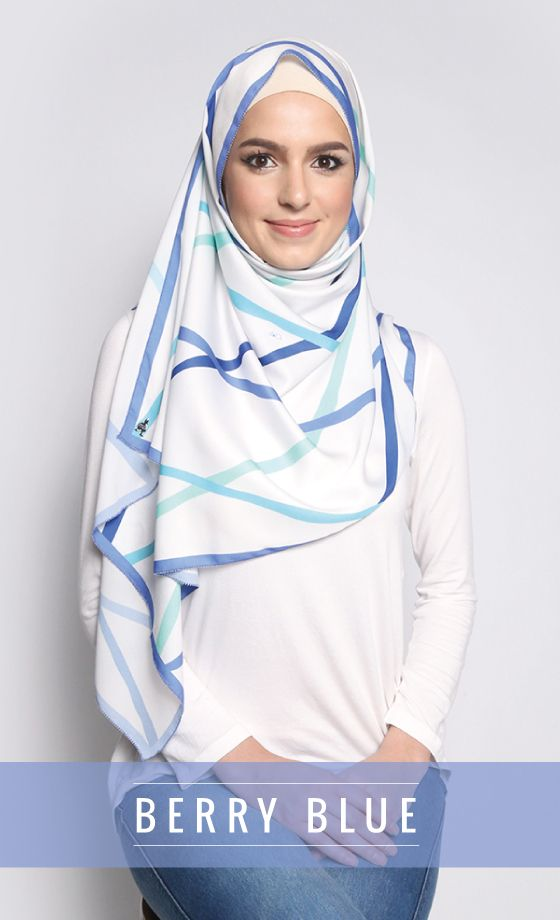 Berry Blue Blurred Line Satin Silk