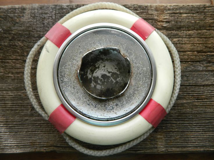 Life preserver ring ashtray / red and white nautical bean bag ashtray by AgeingGracefully on Etsy