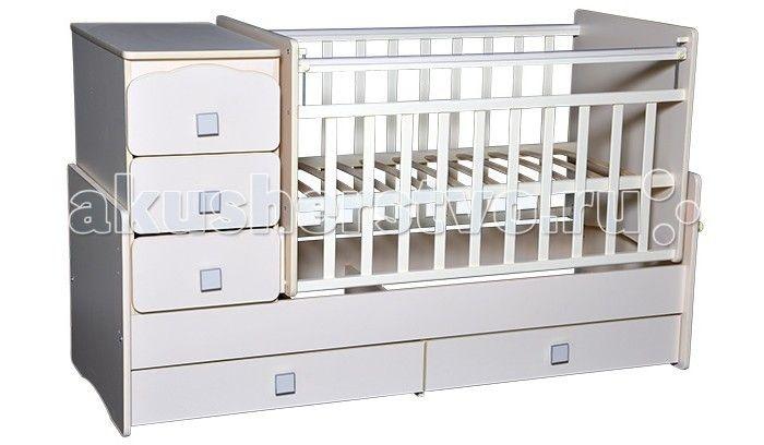 Кроватка-трансформер Антел Ульяна 2 поперечный маятник  Детская кроватка-трансформер Антел Ульяна-2Б поперечный маятник – кроватка 2 в 1, функциональная кроватка с встроенным комодом, позволяет значительно сэкономить пространство в детской комнате.  Кроватка трансформер Ульяна-2 рассчитана для детей с рождения и до подросткового возраста. Чтобы увеличить размер спального места достаточно снять боковые стенки и комод.  Особенности: Дно кроватки реечное имеет 2 уровня крепления по высоте…