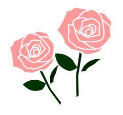ピンク薔薇2本のイラスト