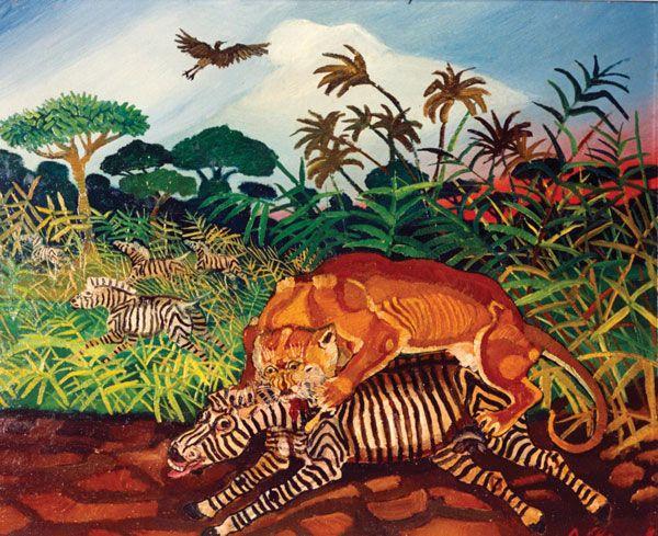 Antonio Ligabue, Leone e zebra in lotta - CoSA | Contemporary Sacerd Art