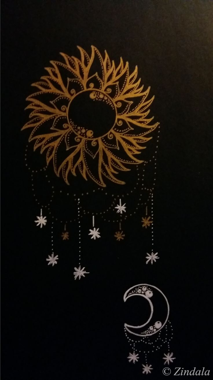 Sun and moon. Zentangle